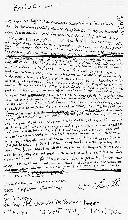 Cobain's suicide note